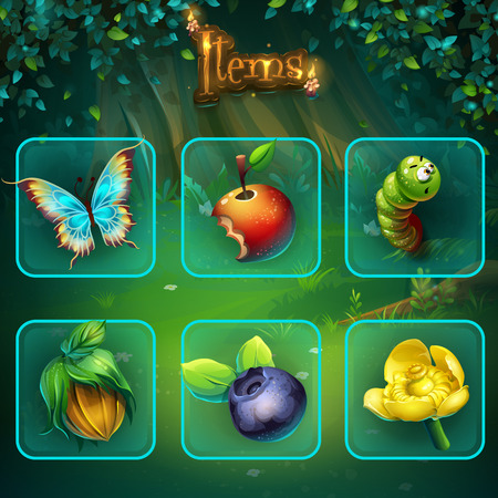 Shadowy forest set items buttons and icon Illustration