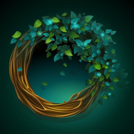 Vector cartoon illustratie krans van wijnstokken en bladeren