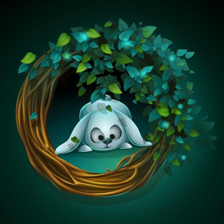 ブドウの木とウサギのベクトル漫画イラスト花輪  イラスト・ベクター素材
