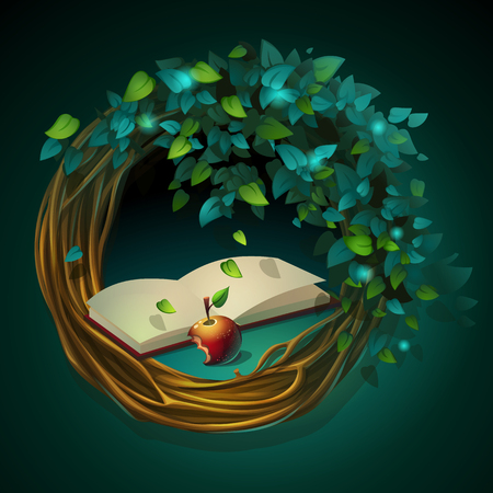 Vector cartoon illustration wreath with book and apple