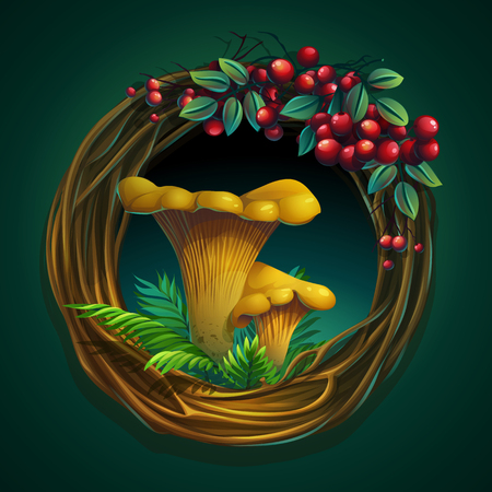 Vector cartoon illustration wreath of vines with mushroom chante