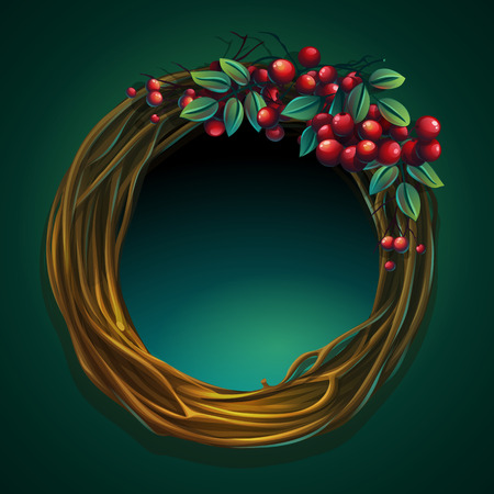 Vector cartoon illustration wreath of vines with ashberry