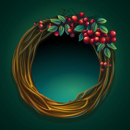 Vector cartoon illustration wreath of vines with ashberry Zdjęcie Seryjne - 88047480