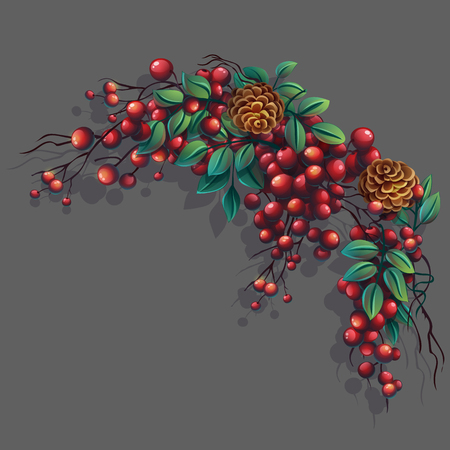 Vector cartoon illustration bunch of mountain ash with leaves, branches and cones