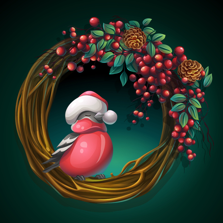 Vector cartoon illustration wreath of vines and leaves on a green background with ash berry and bullfinch