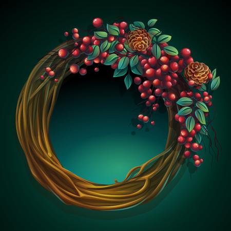 ブドウの木と灰のベリーおよびヒマラヤ スギの円錐形で葉の花輪