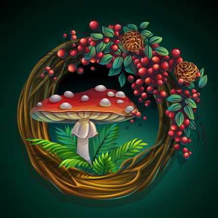Wreath of vines and leaves with amanita mushroom Ilustração