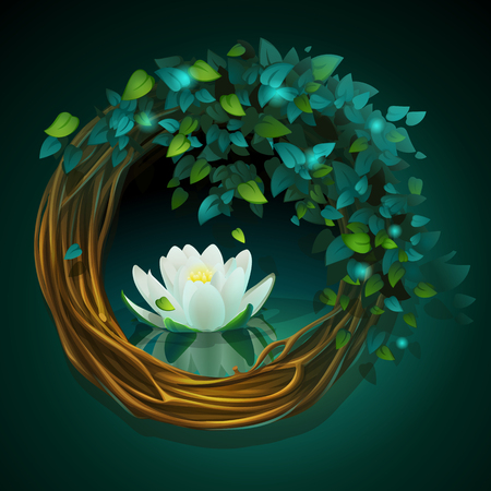 Wreath of vines and leaves with Nymphaea