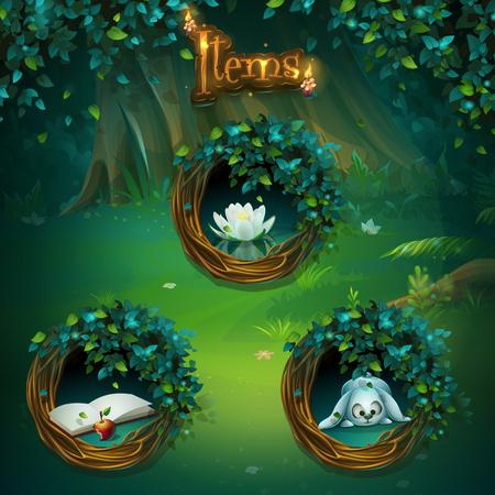 ゲームのユーザー インターフェイスのさまざまなアイテムのセットです。ベクトル背景イラスト画面コンピューター ゲーム謎に包まれた森林 GUI で