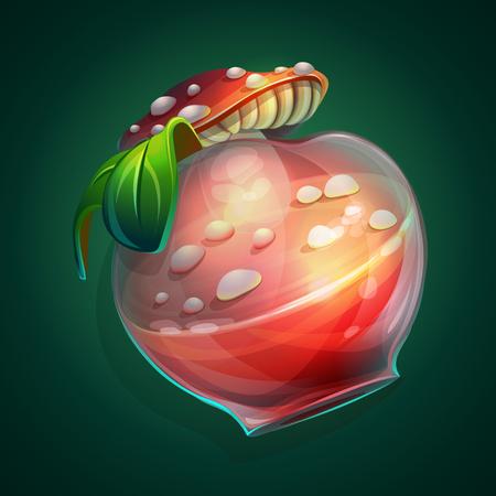 elixir: Ilustración de vector una botella con una poción y una tapa de setas sobre fondo verde Vectores
