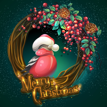 Merry Christmas wreath of ash berry and bullfinch. Illustration