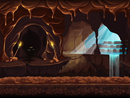 Vector cartoon seamless illustration of a magical waterfall in a grotto. Background image to create original video or web games graphic design screen savers. Vectores