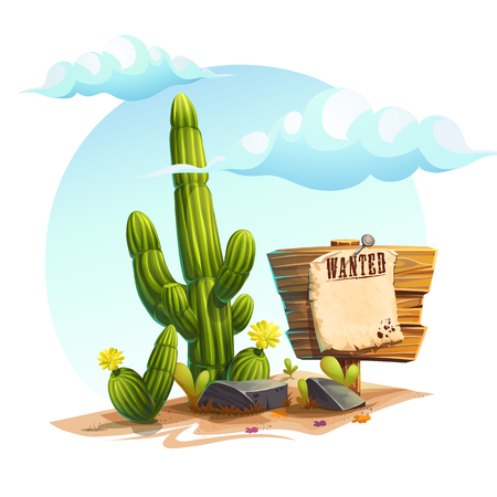 Cartoon illustration of a cactus. Фото со стока - 91511823