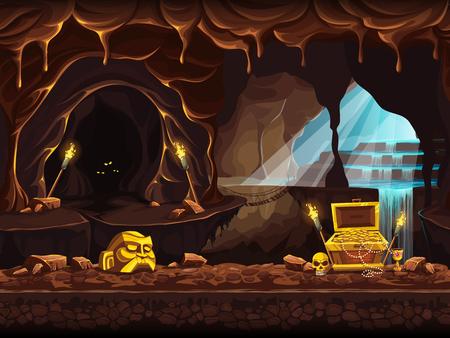 폭포와 가슴이있는 보물 동굴의 그림