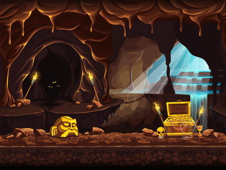 Illustration of the treasure cave with a waterfall and chest Illustration