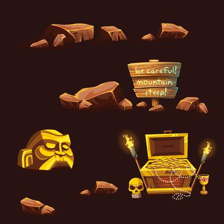 Set of vector cartoon different elements Illustration