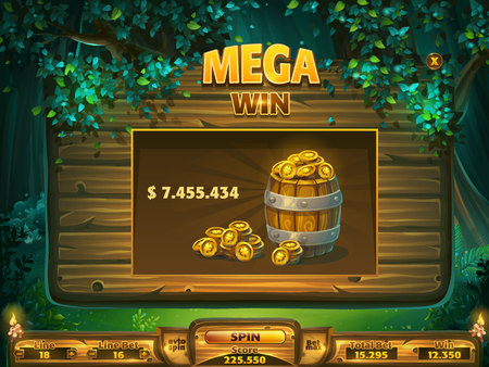 Playing field win window Shadowy forest GUI - mega win 版權商用圖片 - 99273979