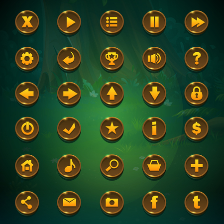 Shadowy forest GUI set buttons. Illustration