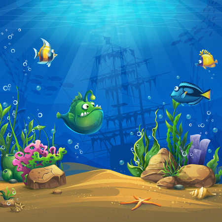 Peces de dibujos animados en el mundo submarino