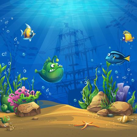 Ryba rysunkowa w podwodnym świecie