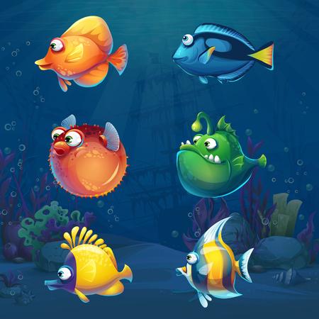 Conjunto de peces divertidos dibujos animados en mundo submarino Ilustración de vector