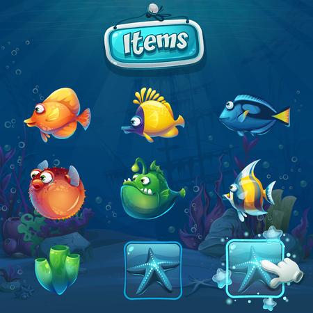 Set of cartoon items in underwater world
