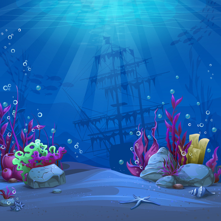 Undersea world in blue theme. Marine Life Landscape - the ocean and the underwater world with different inhabitants. For design websites and mobile phones, printing. Çizim