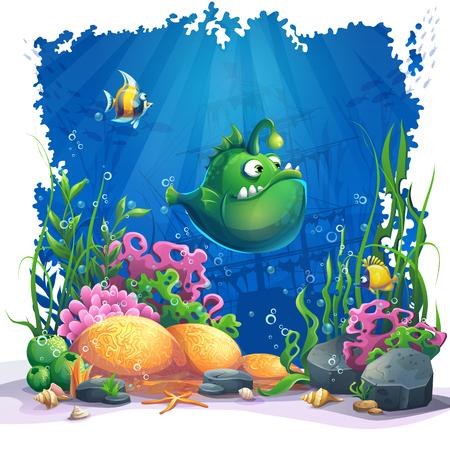 Bellissimo cartone animato divertente pesce verde, coralli e barriere coralline colorate e alghe sulla sabbia. Illustrazione vettoriale del paesaggio marino.
