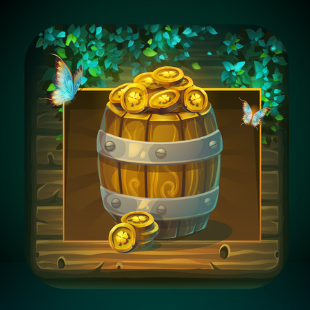Icon barrel with gold coins for game user interface. Vector illustration to the computer game Shadowy forest GUI. Background image to create original video or web games, graphic design, screen savers. Stock Vector - 114785780