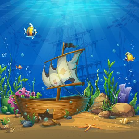 Mundo submarino con barco. Paisaje de vida marina: el océano y el mundo submarino con diferentes habitantes. Para el diseño de sitios web y teléfonos móviles, impresión.