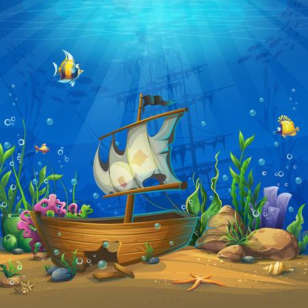 Onderzeese wereld met schip Stockfoto