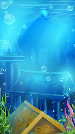 Atlantis ruins - vector illustration mobile vertical background Ilustração