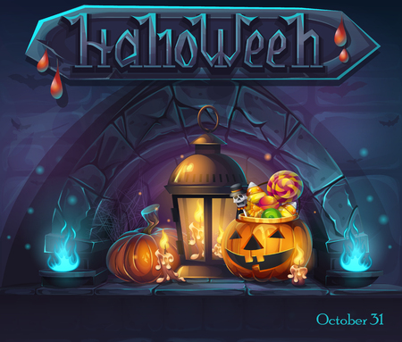 Halloween background - cartoon stylized vector illustration pumpkin, lantern and candles witn a drop of blood