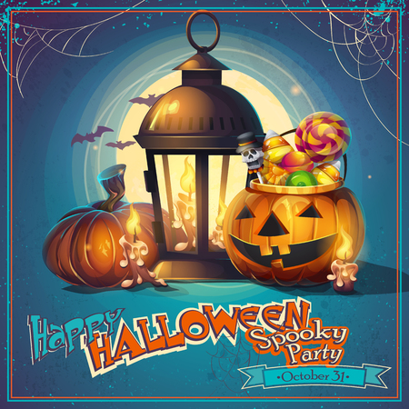 Halloween cartoon stylized vector illustration pumpkin, lantern and candles Stok Fotoğraf - 107649725