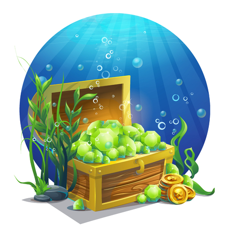 Vector illustration chest with emeralds Çizim