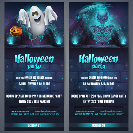 Vector illustration Halloween party flyer. Bright image to create original video or web games, graphic design, screen savers.