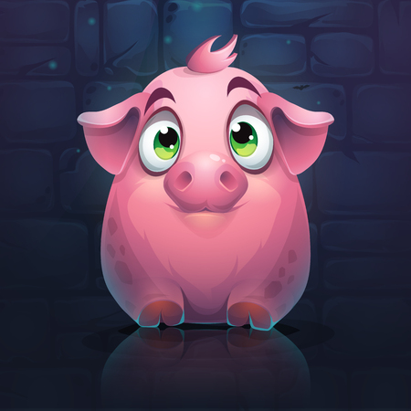 Vector cartoon big pig on a brick wall background