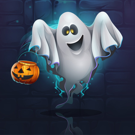Vector illustration cartoon ghost on the brick wall background. For web, video games, user interface, design. Illustration