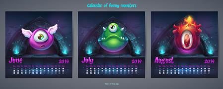 Set of summer months calendar 2019