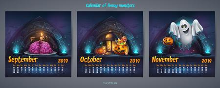 Set of autumn months calendar 2019