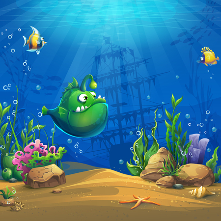 Cartoon funny green fish 스톡 콘텐츠