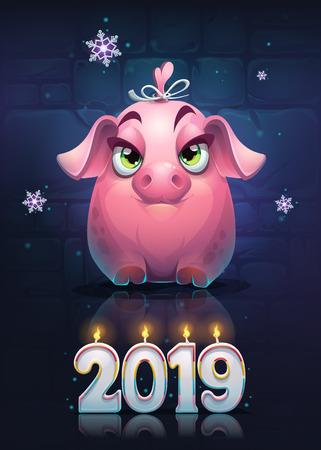 Vector cartoon pig girl on a brick wall background