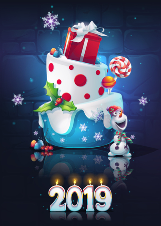 Festive set - New Year. Bright image to create original video or web games, graphic design, screen savers.