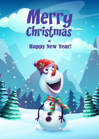 Vector illustration the cartoon snowman greeting card