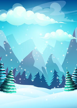 Vector illustration cartoon winter landscape. For web, video games, user interface, design