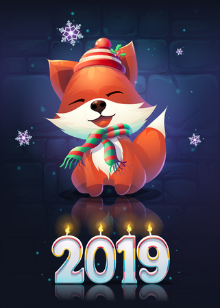 Vector illustration funny fox greeting card. For web, video games, user interface, design.