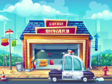 Vector cartoon illustration image the police car