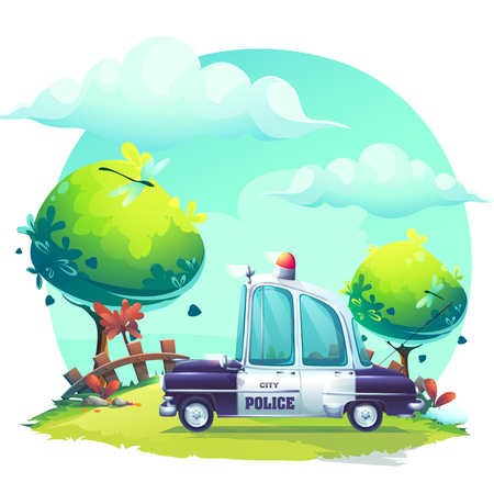 Vector background Pin-up style with police car. For web, video games, user interface, design. Illustration