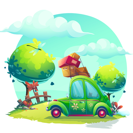 Vector background Pin-up style with cartoon green car