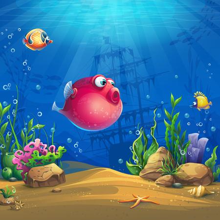 물고기가 있는 해저 세계. 해양 생물 풍경 - 바다와 다양한 주민이 있는 수중 세계. 디자인 웹 사이트 및 휴대 전화의 경우 인쇄.